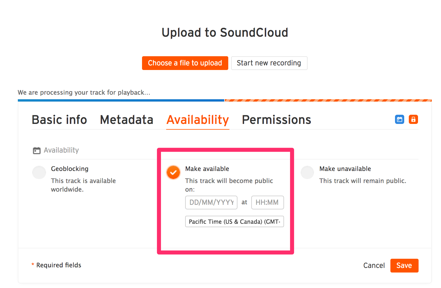 Upload to SoundCloud
